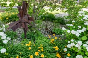 Ducks in landscaping