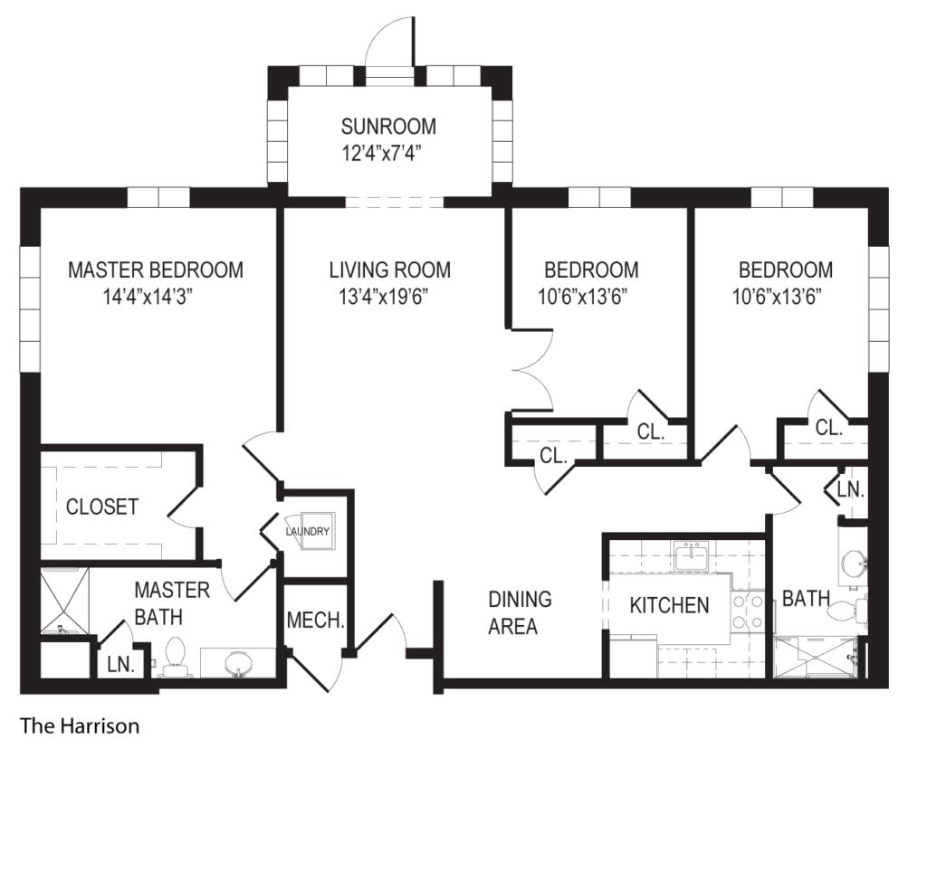The Harrison 3 bedroom apartment floorplan