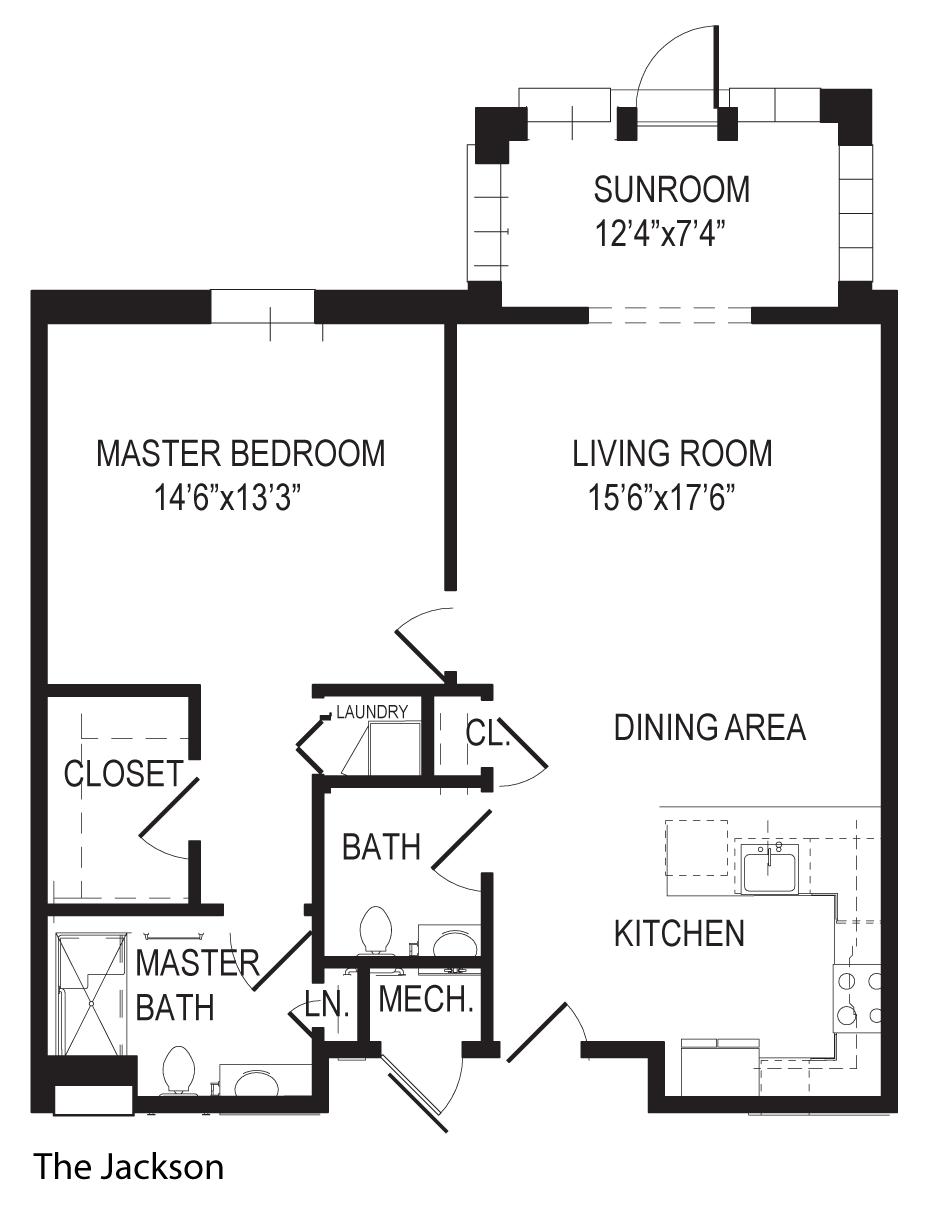 The Jackson 1 bedroom apartment floorplan