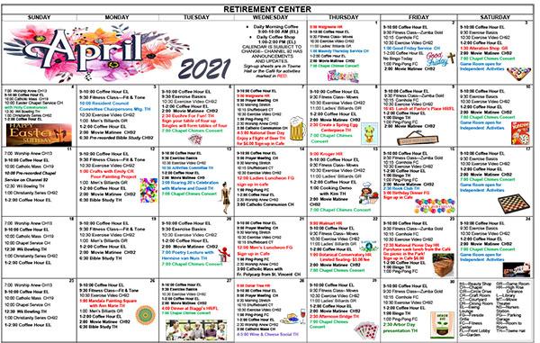 April 2021 Activities Calendar