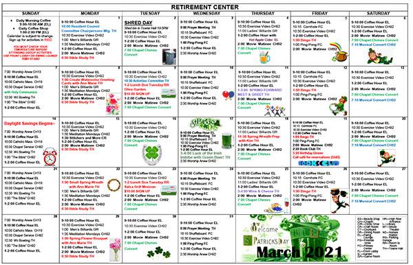 March 2021 Activities Calendar