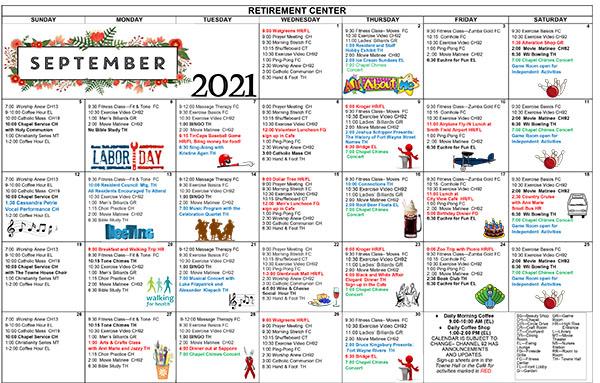 September 2021 Activities Calendar